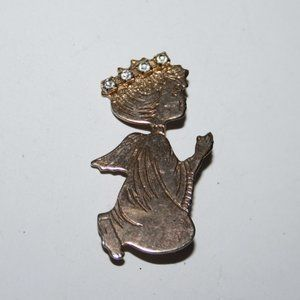 Vintage gold angel brooch